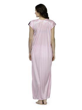 Oleva Satin Plain Nightwear - Pink-ONW_4_7001_LIGHTPINK