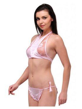 Oleva Satin Plain Bikini Set - Lightpink