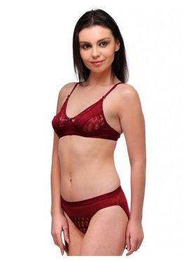 Oleva Cotton Plain Bikini Set - Maroon