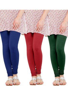 Pack of 3 Oh Fish Solid Cotton Stretchable Leggings -zwe80