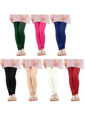Pack of 7 Oh Fish Solid Pure Cotton Stretchable Leggings -lgpk7