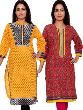 Set of 2 Priya Fashions Pure Cotton Jaipuri Printed Kurtis - PF103K2