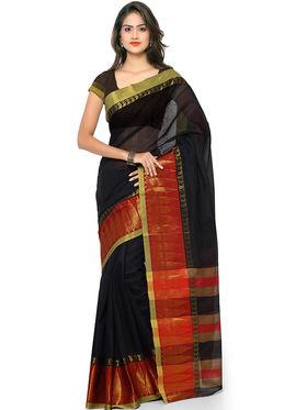 Nanda Silk Mills Handloom Black & Maroon Plain Cotton Silk Saree -nad04