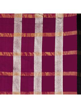 Nanda Silk Mills Handloom Wine & Gold Plain Cotton Silk Saree -nad14