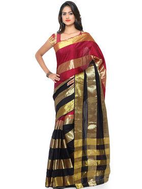 Nanda Silk Mills Handloom Multi Plain Cotton Silk Saree -nad17