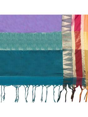 Nanda Silk Mills Handloom Turquoise  Plain Cotton Silk Saree -nad22