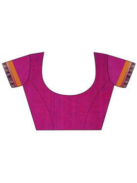 Nanda Silk Mills Handloom Blue Plain Cotton Silk Saree -nad23