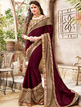 Indian Women Embroidered Chinon Maroon & Gold Saree -Ra21009
