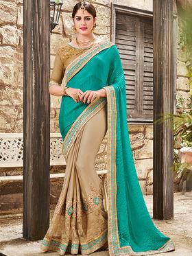 Indian Women Embroidered Satin Chiffon Cyan & Gold Saree -Ra21011