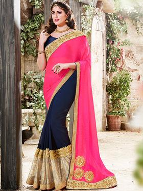 Indian Women Embroidered Moss Chiffon Pink & Violet Saree -Ra21024