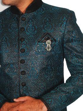 Runako Regular Fit Elegant Silk Brocade Sherwani For Men - Cerulean & Blue