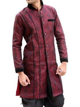 Runako Regular Fit Elegant Silk Brocade Sherwani For Men - Maroon_RK1046
