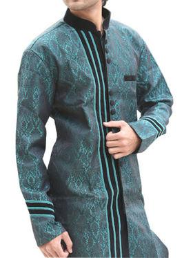 Runako Regular Fit Elegant Silk Brocade Sherwani For Men - Green_RK1048
