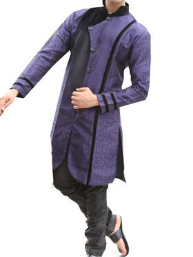 Runako Regular Fit Elegant Silk Brocade Sherwani For Men - Violet