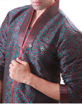 Runako Regular Fit Elegant Silk Brocade Sherwani For Men - Green & Maroon