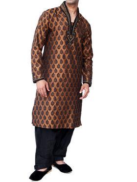 Runako Regular Fit Silk Brocade Kurta Pyjama For Men - Brown