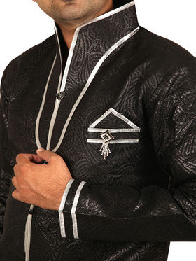 Runako Regular Fit Silk Brocade Kurta Pyjama For Men - Black