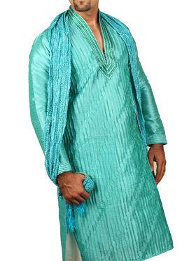 Runako Regular Fit Silk Brocade Kurta Pyjama For Men - Cool blue