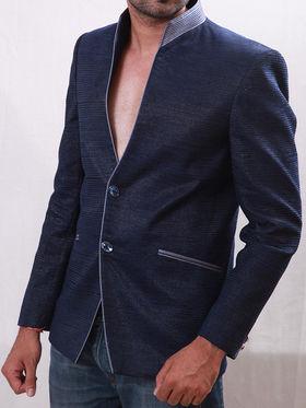 Runako Solid Regular Full sleeves Party Wear Blazer For Men - Blue_RK5044