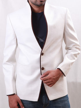 Runako Solid Regular Full sleeves Party Wear Blazer For Men - White_RK5051