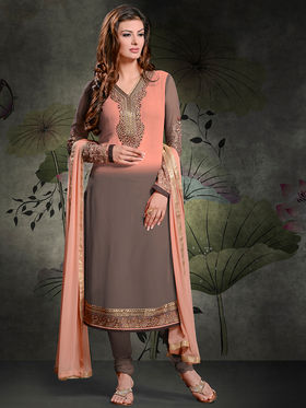 Viva N Diva Georgette Embroidered Semi Stitched Suit Rihanaa-1101