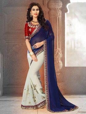 Viva N Diva Georgette Floral Embroidery Saree -Riwaaz-Again-9008