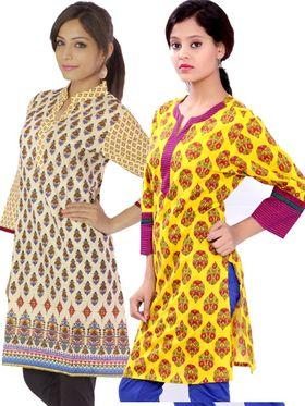 Combo of 2 Bazar Villa Cotton Printed Kurtis - BCE2032_42