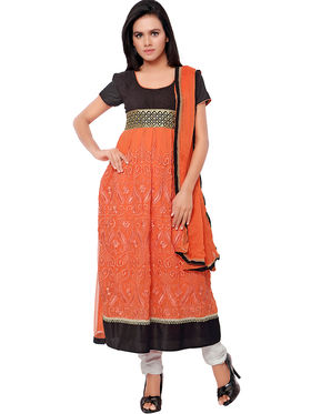Florence Georgette Embroidered Semi-Stitched Dress Material  Sb-3178