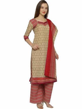 Florence Beige & Red Polycotton Printed  Dress Material _Sb3296