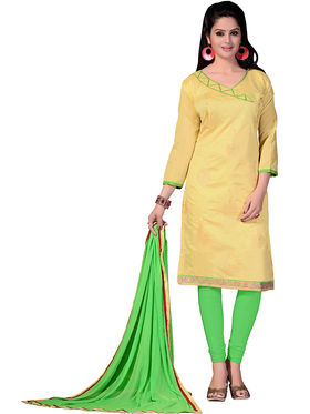Khushali Fashion Chanderi & Khadi Embroidered Dress Material With Two Top -Sglon220010