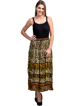 Arisha Cotton Printed Skirt SKT9011-Multi-Mhndi