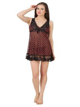 Fasense Power Net Polka Print Nightwear Babydoll Slip -SS076B2
