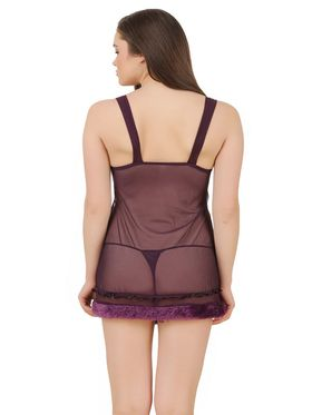 Fasense Power Net Solid Nightwear Babydoll Slip -SS079A2