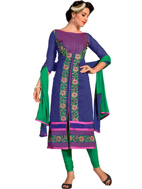 Khushali Fashion Chanderi Embroidered Dress Material -Ssblfr1005