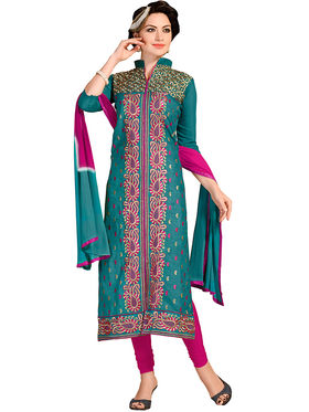 Khushali Fashion Chanderi Embroidered Dress Material -Ssblfr1008