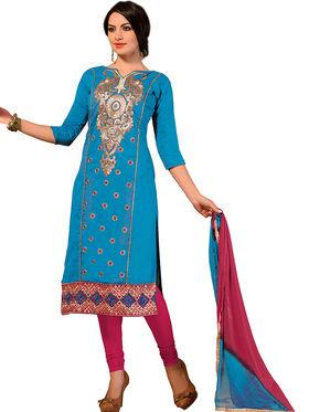 Khushali Fashion Chanderi Embroidered Dress Material -Ssblfr1009