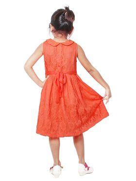 ShopperTree Solid fluorescent orange Polyester Dress-ST-1703