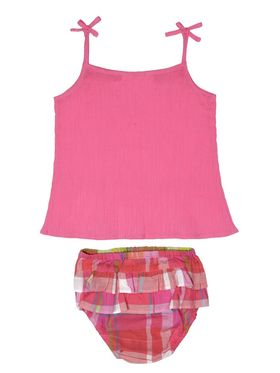 ShopperTree Solid and printed Pink Magenta Cotton Crepe Top , Cotton Yarn Dyed Panty Twin set-ST-1718
