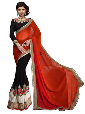 Khushali Fashion Georgette Crush Embroidered & Embellished Saree -Stpnhr10008