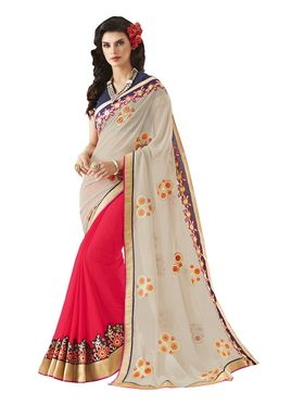 Khushali Fashion Embroidered Georgette Half & Half Saree_KF62
