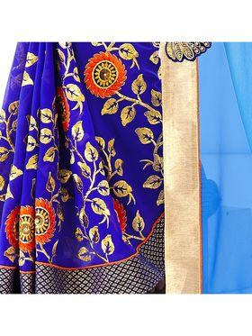 Khushali Fashion Embroidered Georgette Half & Half Saree_KF67