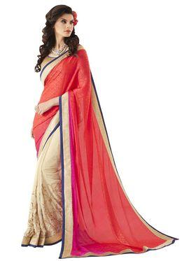 Khushali Fashion Embroidered Georgette Half & Half Saree_KF72