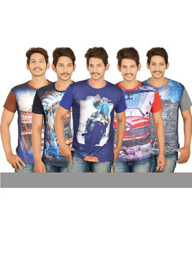 Set of 5 - 3D Print T-shirts for Men