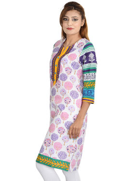 Set of 3 Cotton Jaipuri Printed Kurtis - By Manukunj