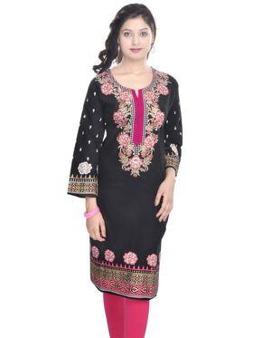 Shop Rajasthan 100% Pure Cotton Printed Kurti - Black - SRE2256