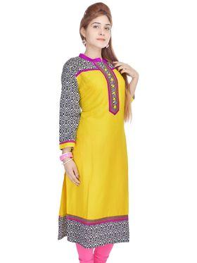 Shop Rajasthan 100% Pure Cotton Printed Kurti - Yellow - SRE2266