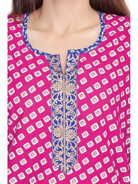 Shop Rajasthan 100% Pure Cotton Printed Kurti - Pink and Blue - SRE2267