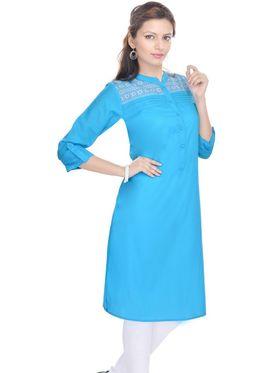 Shop Rajasthan 100% Pure Cotton Printed Kurti - Light Blue - SRE2280