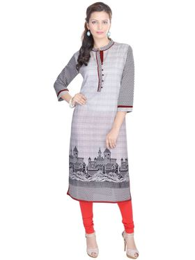 Shop Rajasthan 100% Pure Cotton Printed Kurti - Grey - SRE2302