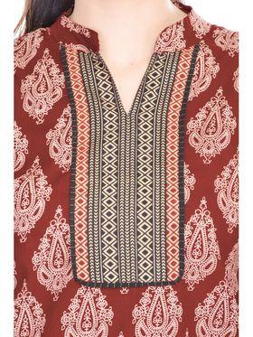 Shop Rajasthan 100% Pure Cotton Printed Kurti - Maroon - SRE2304